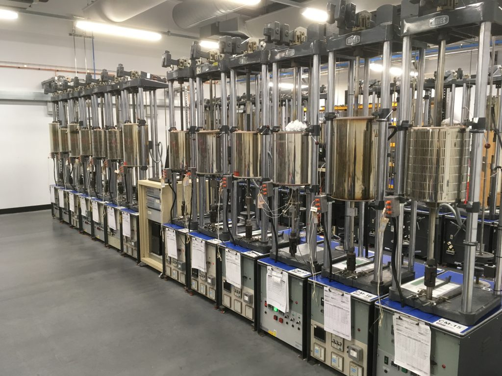 Row of constant load creeep test frames at SMaRT